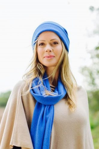 lady in blue hat and scarf